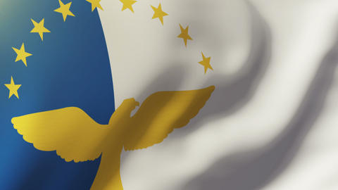Azores flag waving in the wind. Looping sun rises style. Animation loop Animation