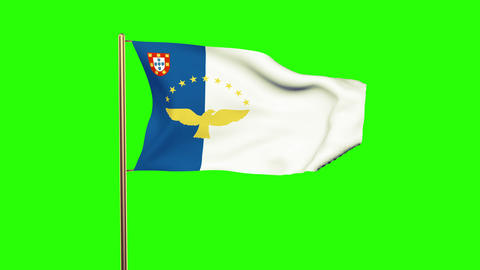 Azores flag waving in the wind. Green screen, alpha matte. Loopable animation Animation