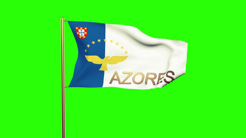 Azores flag with title waving in the wind. Looping sun rises style. Animation lo Animation