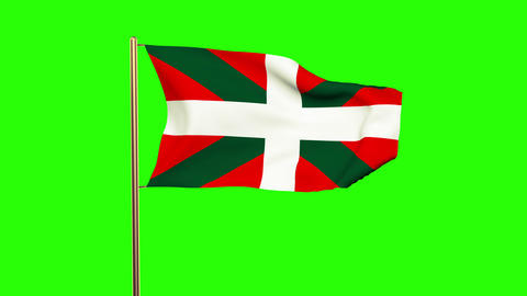 Basque flag waving in the wind. Green screen, alpha matte. Loopable animation CG動画