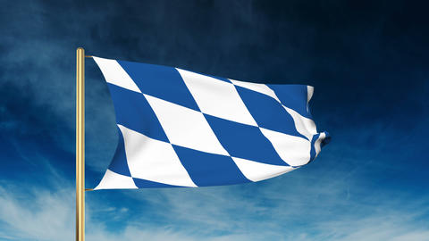 Bavaria flag slider style. Waving in the win with cloud background animation Animation