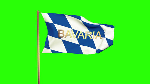 Bavaria flag with title waving in the wind. Looping sun rises style. Animation l Animation