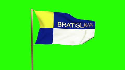 Bratislava Flag With Title Waving In The Wind. Looping Sun Rises Style. Animatio stock footage