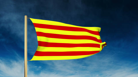 Catalonia flag slider style. Waving in the win with cloud background animation Animation