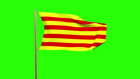 Catalonia flag waving in the wind. Green screen, alpha matte. Loopable animation Animation