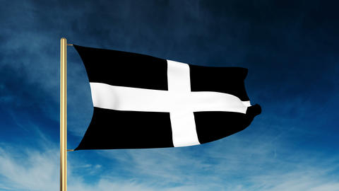 Cornwall flag slider style. Waving in the win with cloud background animation Animation
