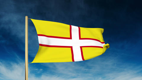 Dorset flag slider style. Waving in the win with cloud background animation Animation
