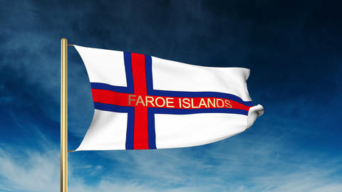 Faroe Islands flag slider style with title. Waving in the wind with cloud backgr Animation