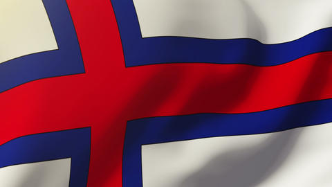 Faroe Islands flag waving in the wind. Looping sun rises style. Animation loop Animation