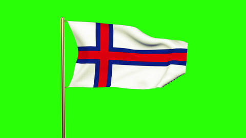 Faroe Islands flag waving in the wind. Green screen, alpha matte. Loopable anima Animation