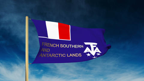 French Southern And Antarctic Lands flag slider style with title. Waving in the  Animation