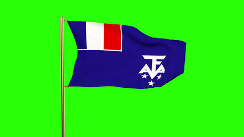 French Southern And Antarctic Lands flag waving in the wind. Green screen, alpha Animation