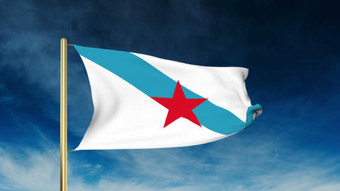 Galician Nationalist Youth flag slider style. Waving in the win with cloud backg Animation