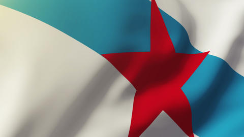 Galician Nationalist Youth flag waving in the wind. Looping sun rises style. Ani Animation