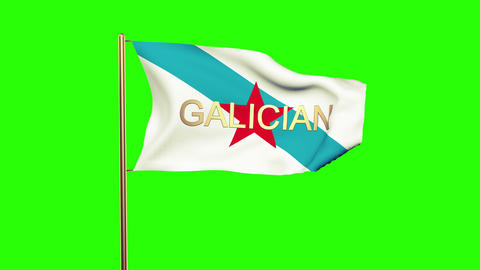 Galician Nationalist Youth flag with title waving in the wind. Looping sun rises Animation