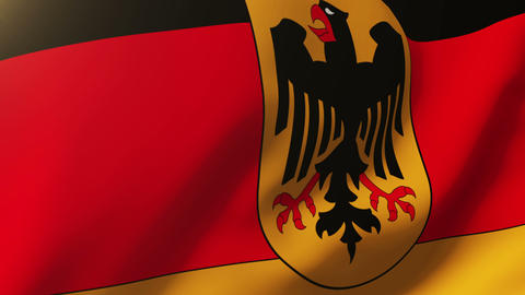 Germany With Eagle flag waving in the wind. Looping sun rises style. Animation l Videos animados
