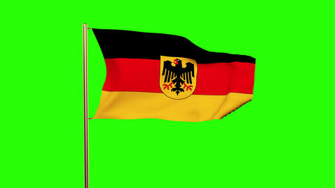 Germany With Eagle flag waving in the wind. Green screen, alpha matte. Loopable  Animation