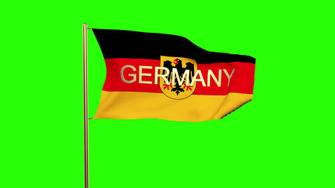 Germany With Eagle flag with title waving in the wind. Looping sun rises style.  Animation