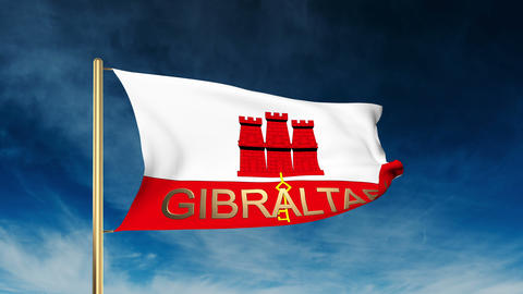 Gibraltar flag slider style with title. Waving in the wind with cloud background Animation