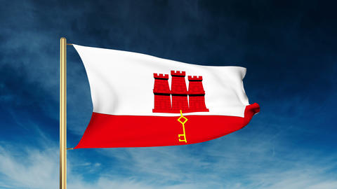 Gibraltar flag slider style. Waving in the win with cloud background animation Animation