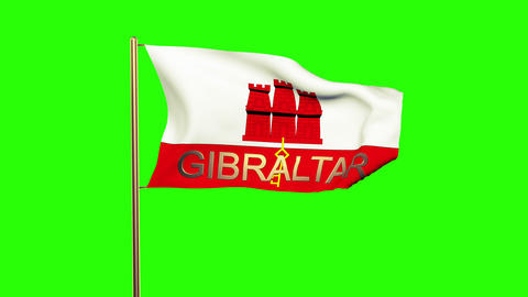 Gibraltar flag with title waving in the wind. Looping sun rises style. Animation Animation