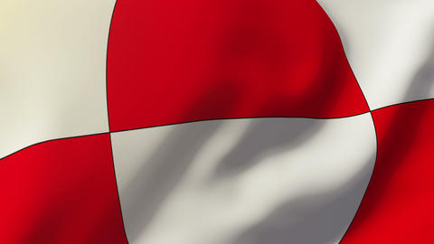 Greenland flag waving in the wind. Looping sun rises style. Animation loop Animation
