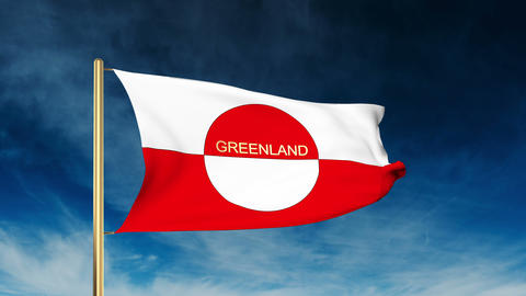 Greenland flag slider style with title. Waving in the wind with cloud background CG動画