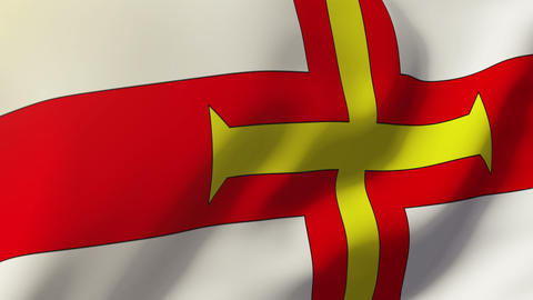 Guernsey flag waving in the wind. Looping sun rises style. Animation loop Animation