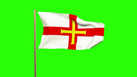 Guernsey flag waving in the wind. Green screen, alpha matte. Loopable animation Animation