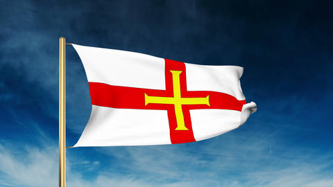 Guernsey flag slider style. Waving in the win with cloud background animation Animation