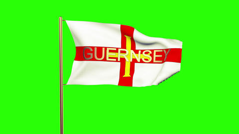 Guernsey flag with title waving in the wind. Looping sun rises style. Animation  Animation