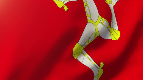 Isle Of Man flag waving in the wind. Looping sun rises style. Animation loop Animation