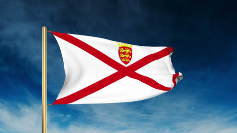 Jersey flag slider style. Waving in the win with cloud background animation Animation