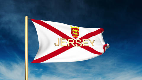 Jersey flag slider style with title. Waving in the wind with cloud background an Animation
