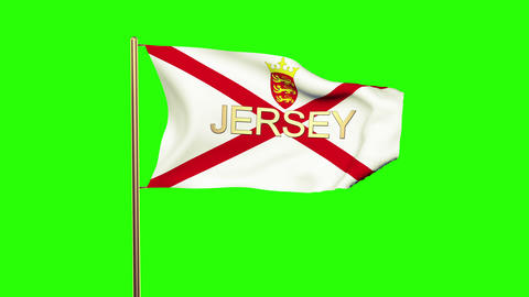 Jersey flag with title waving in the wind. Looping sun rises style. Animation lo Animation