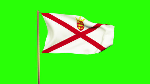 Jersey flag waving in the wind. Green screen, alpha matte. Loopable animation Animation