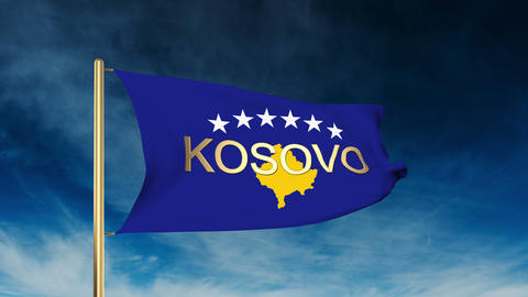 Kosovo flag slider style with title. Waving in the wind with cloud background an Animation