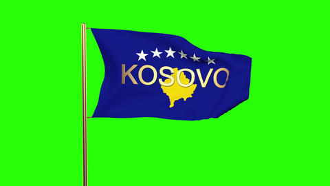 Kosovo flag with title waving in the wind. Looping sun rises style. Animation lo Animation