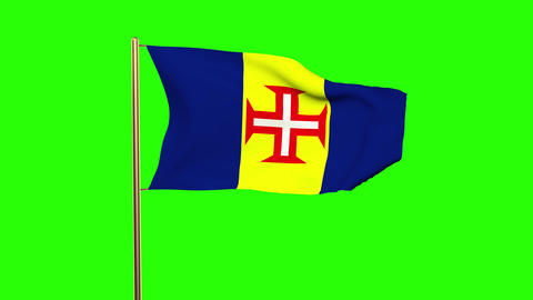 Madeira flag waving in the wind. Green screen, alpha matte. Loopable animation Animation