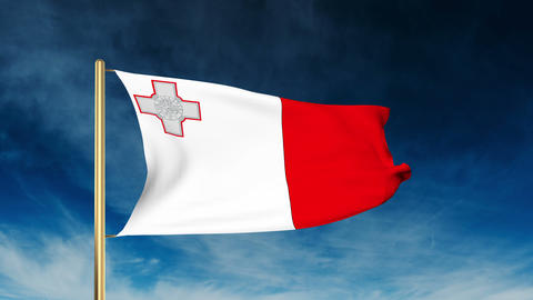 Malta flag slider style. Waving in the win with cloud background animation Animation