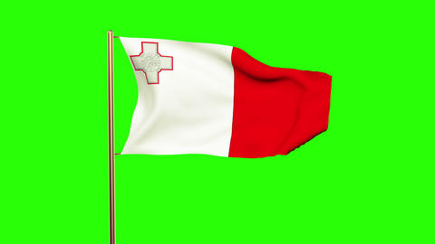 Malta flag waving in the wind. Green screen, alpha matte. Loopable animation Animation
