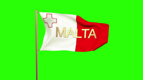 Malta flag with title waving in the wind. Looping sun rises style. Animation loo Animation