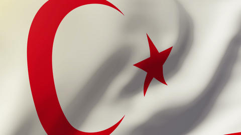 North Cyprus flag waving in the wind. Looping sun rises style. Animation loop Animation