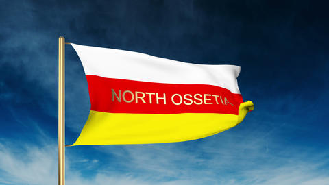 North Ossetia flag slider style with title. Waving in the wind with cloud backgr Animation