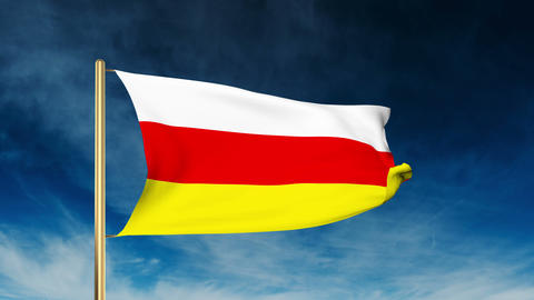 North Ossetia flag slider style. Waving in the win with cloud background animati Animation