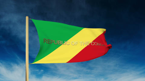 Republic of the Congo flag slider style with title. Waving in the wind with clou Animation