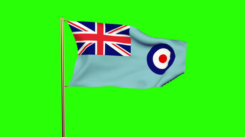 Royal Air Force flag waving in the wind. Green screen, alpha matte. Loopable ani Animation