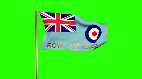 Royal Air Force flag with title waving in the wind. Looping sun rises style. Ani Animation