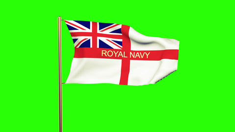 Royal Navy flag with title waving in the wind. Looping sun rises style. Animatio Animation