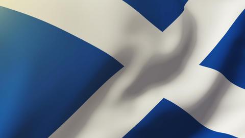 Scotland flag waving in the wind. Looping sun rises style. Animation loop CG動画
